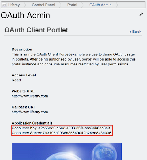 OAuth Client Portlet registered as OAuth Application