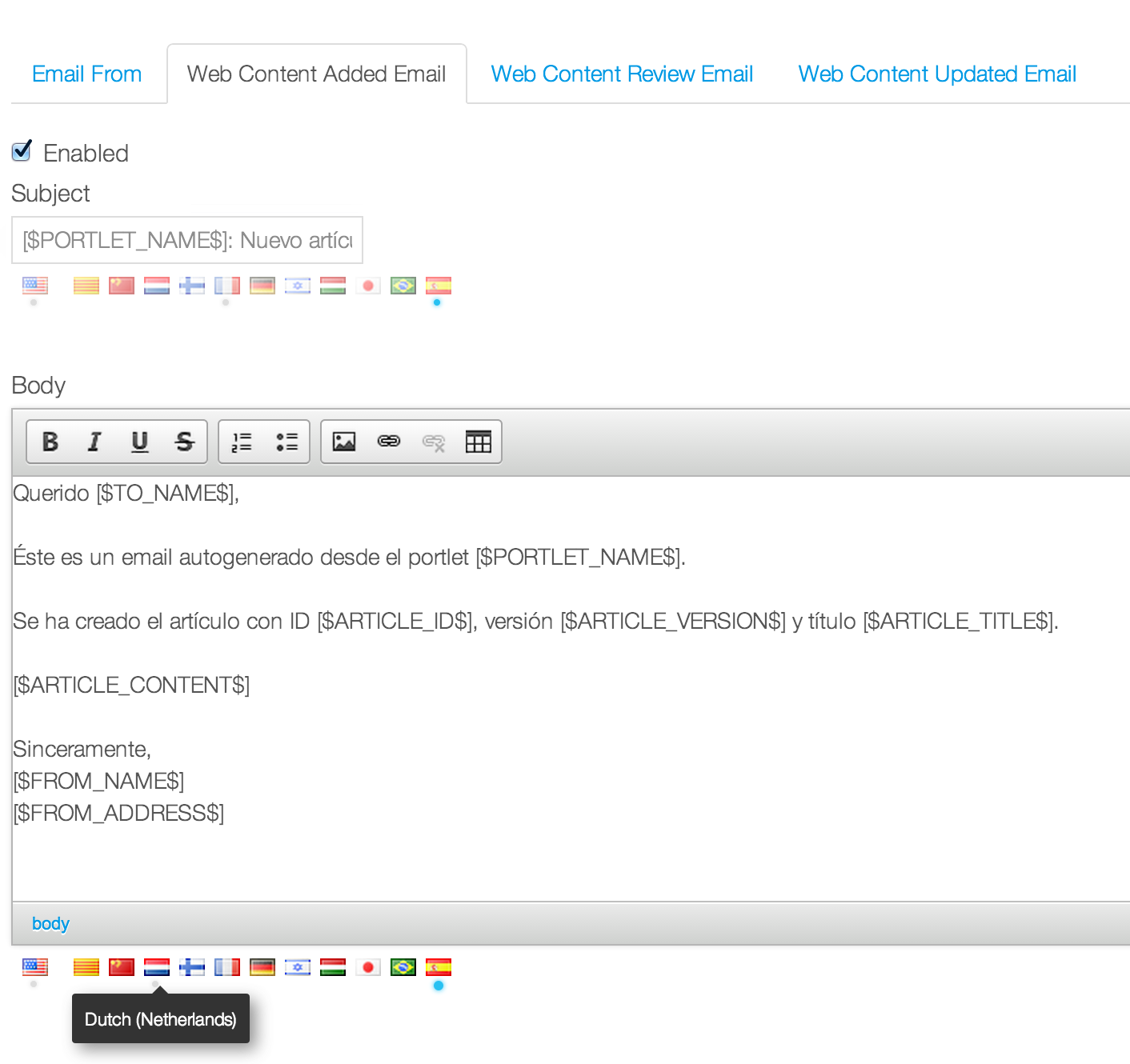 Localization example -