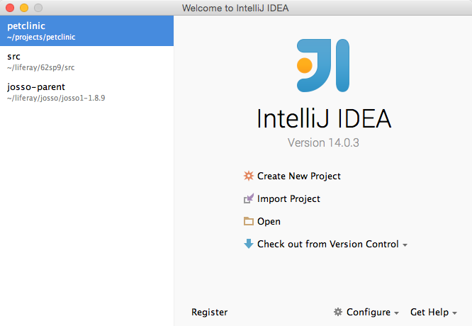 Intellij Starting Page