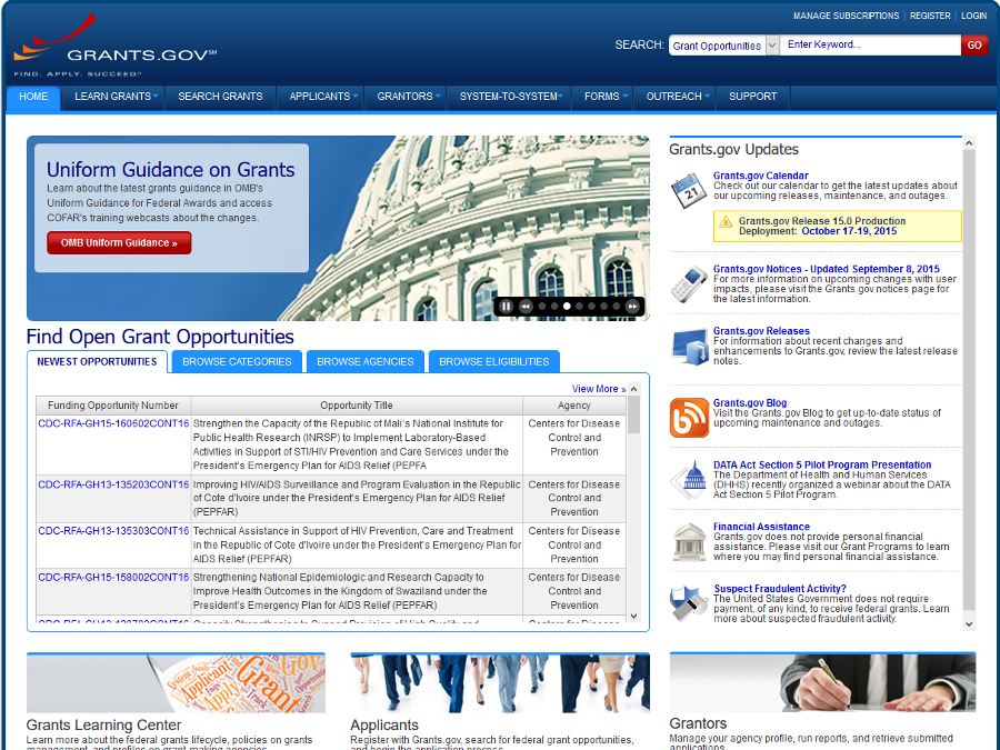 Web Portal Example - Grants.gov Government Portal - Liferay Portal