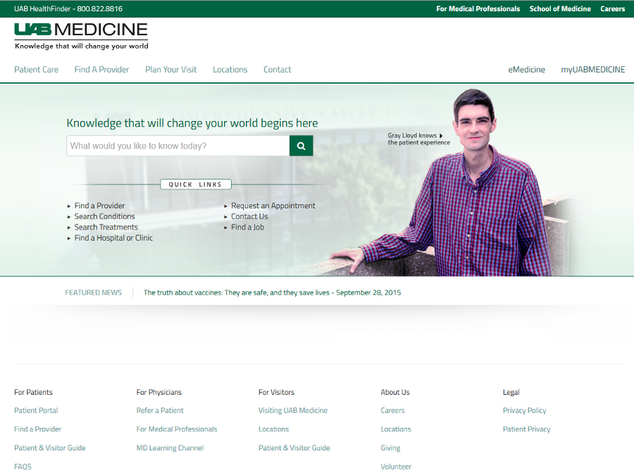 Web Portal Example - UAB Patient Portal - Liferay Portal